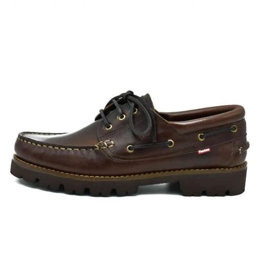 Zapato Nautico Fluchos de piel Mod: F0046 Pull Castaño - STK